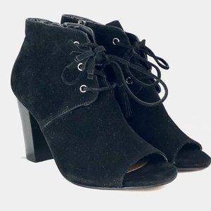 XOXO Shoes - XOXO Black faux Suede Peep Toe tie up Block heels
